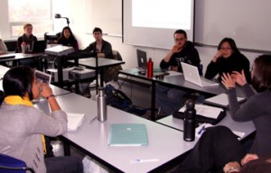 students discussing at classroom